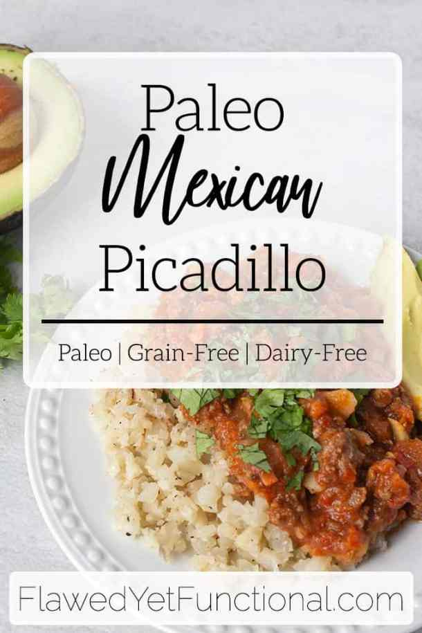paleo Mexican picadillo over cauliflower rice
