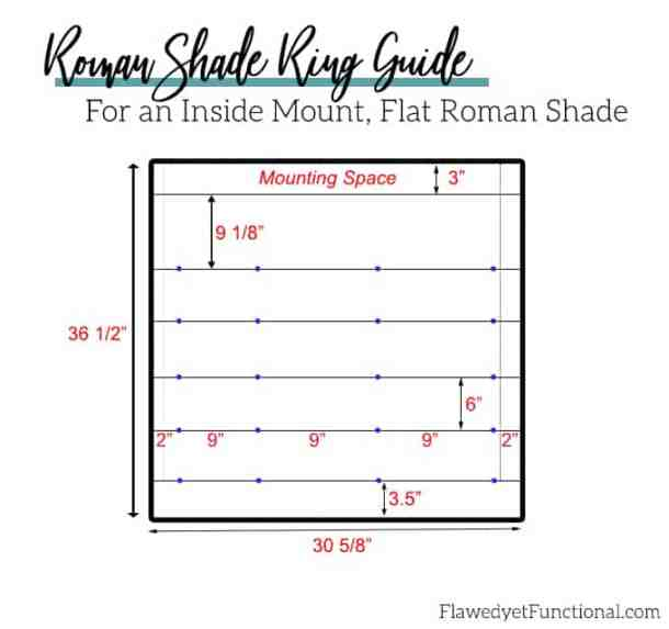 flat roman shade ring placement guide