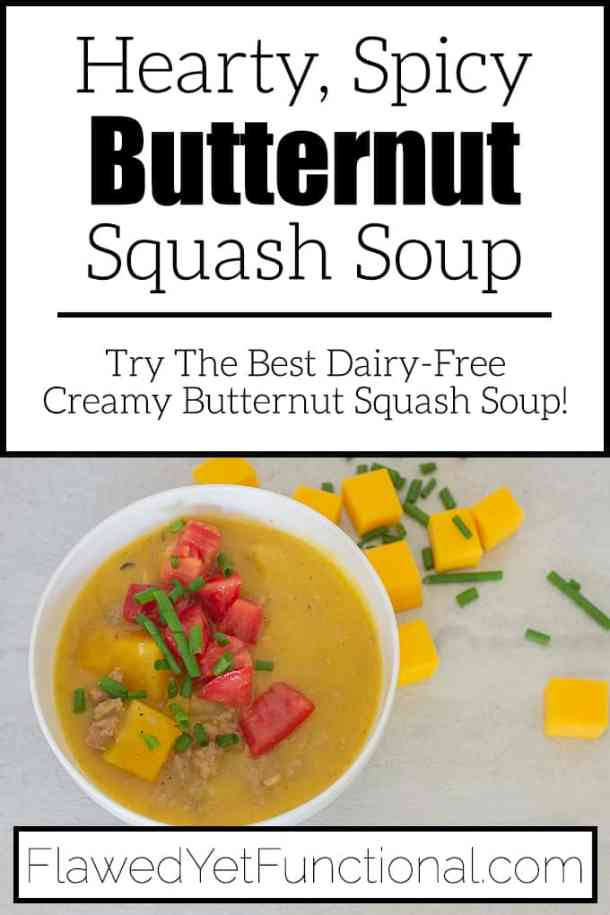 Spicy Butternut Squash Soup in white bowl with tomatoes
