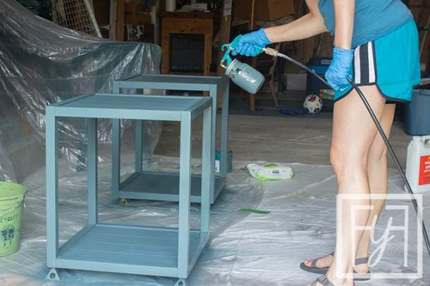 spray painting wood furniture nightstands