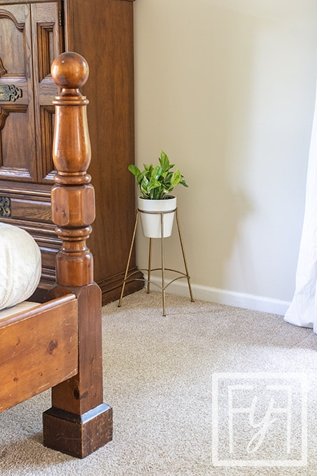 indoor pothos plant in white pot and gold plant stand