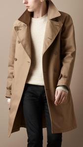 Burberry Men's Leather Detail Trench Coat