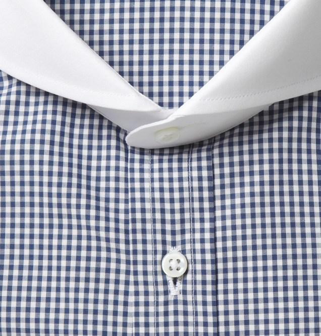 Ralph Lauren Purple Label Contrast Cutaway Collar Check Cotton Shirt