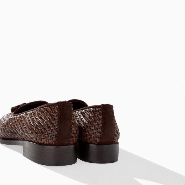 Zara Men's Brown Braided Moccasin Shoe