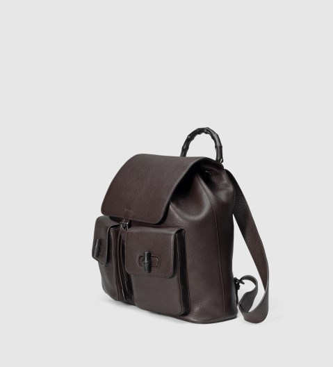 Gucci Men's Leather Backpack With Bamboo Details