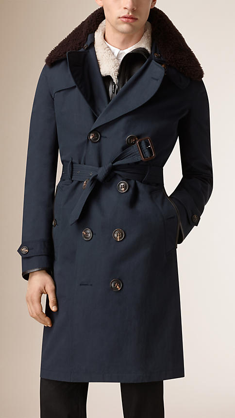 Burberry Men's Cotton Blend Trench Coat With Shearling Warmer 2