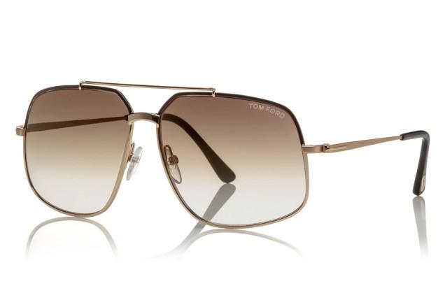 Tom Ford Shiny Metal Aviator Sunglasses Rose Golden/Havana