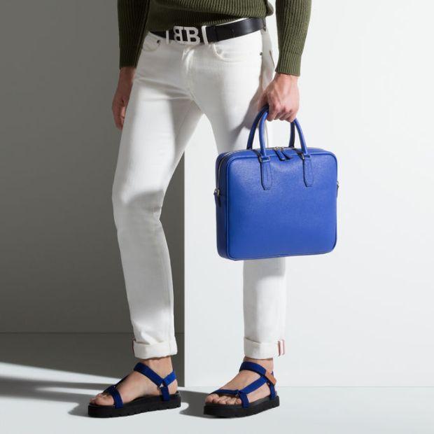 Bally Men's Nikkos True Blue Calf Leather Business Bag 3