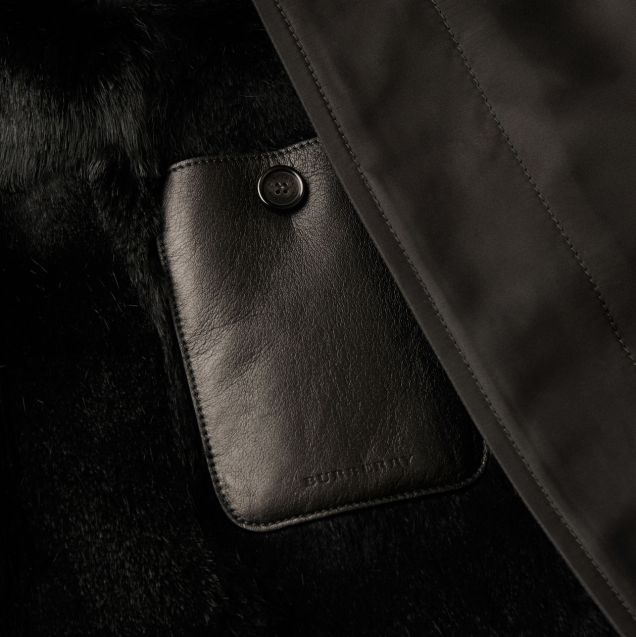 Burberry Men's Car Coat With Detachable Warmer And Mink Topcollar