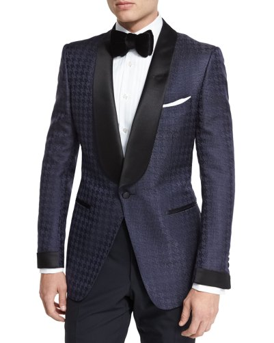 Tom Ford O'Connor Base Houndstooth Jacquard Navy Dinner Jacket