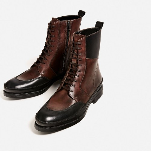 Zara Man Two-Tone Leather Boots