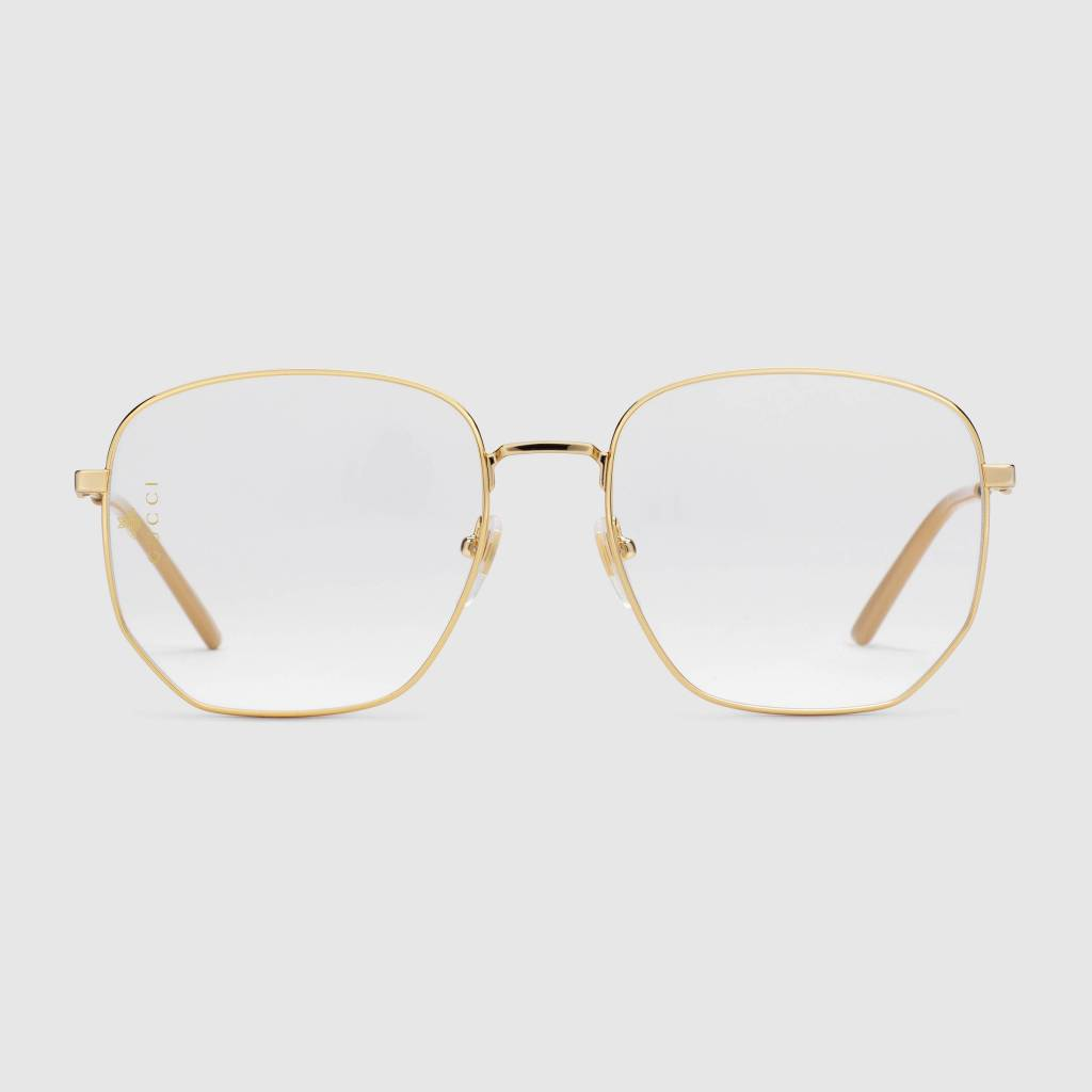 f7439d83f1 You can t go wrong with a minimal design when it comes to eyewear. The Gucci  Gold Rectangular-Frame Metal Glasses are a great example of a how a luxury  ...