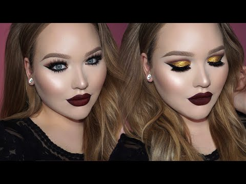 Gold Cut Crease Seductive Vampy Lips Makeup Flawlessend