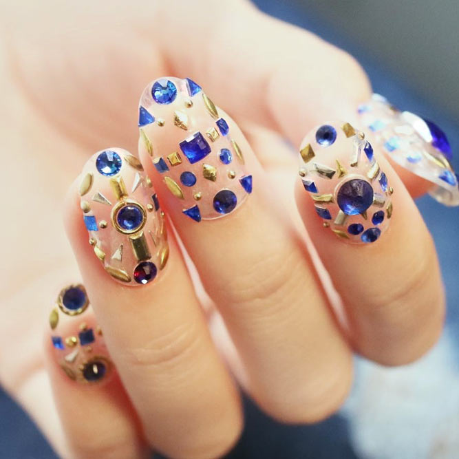 Rhinestones and Studs Nail Art Designs picture 3