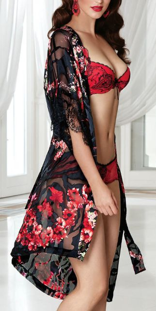 red flowery lingere