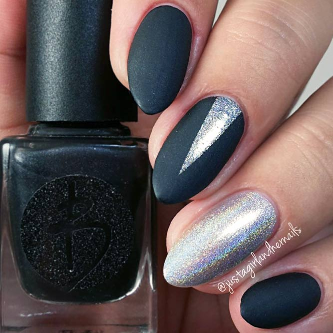 Matte Black Nails With Silver Glitter- HireAbility