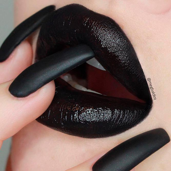 Not Too Gothic Black Lipstick And Matching Nail Polish