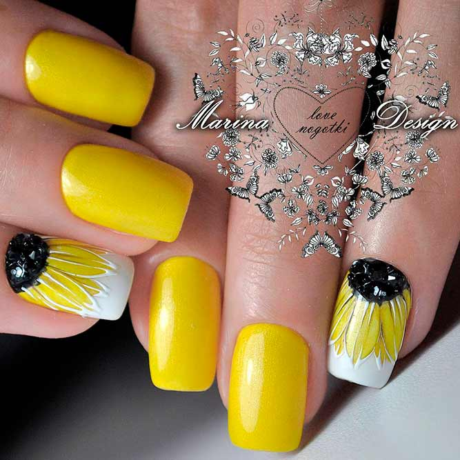 18 Creative Ways Update You Mani With Yellow Flowers Nail Art