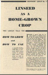 Growmore Linseed. WW2 Leaflet from Ministry Fisheries and Agriculture