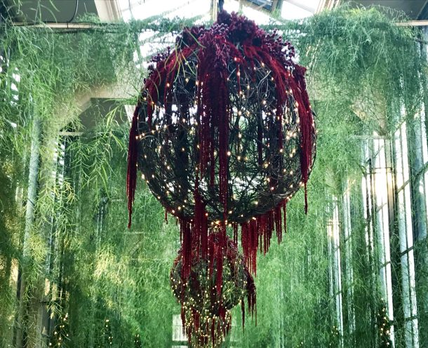 Whimsical hanging ball surrounded by plants- part of Longwood Christmas at Longwood Gardens Conservatory
