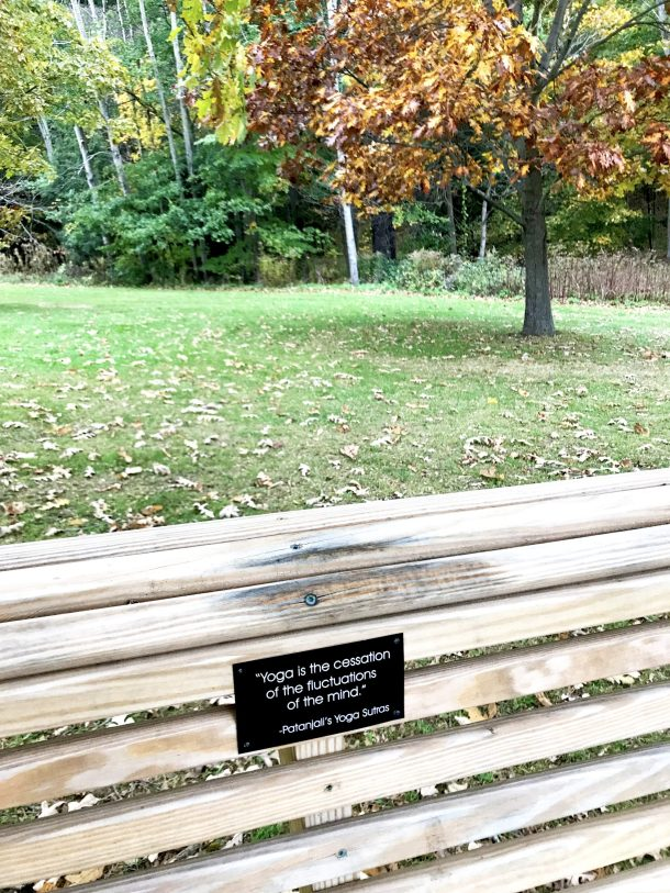 Beautiful picture of bench with yoga quote at Kripalu Center for Yoga and Health