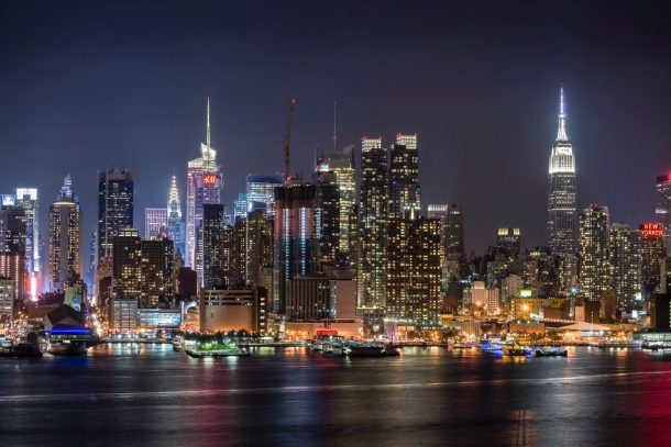New York City skyline at night for gluten-free in NYC