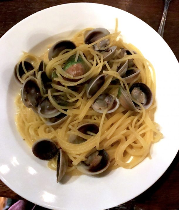 Gluten-free spaghetti with clam sauce from one of the many gluten-free restaurants in NYC