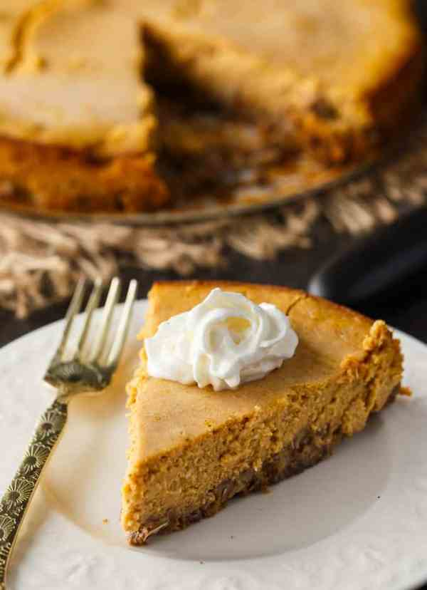 Easy keto cheesecake crust with pumpkin filling