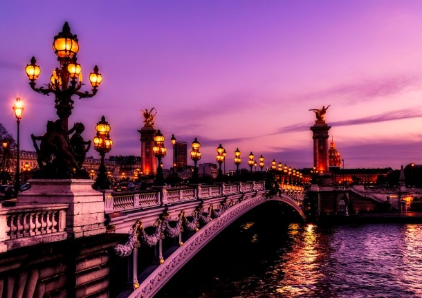 Pont Alexandre III in Paris, France is the most beautiful place to visit in Europe at sunset