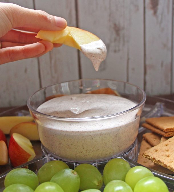 This healthy vegan fruit dip is a great low calorie dipping sauce for apples