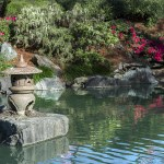 A zen meditation garden with water, small pagoda, flowers, and green plants
