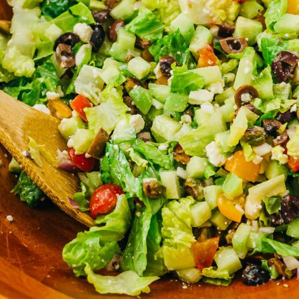 Mediterranean Salad made with cheap, healthy, and filling ingredients