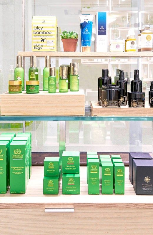 Shelves of natural skincare products at The Detox Market
