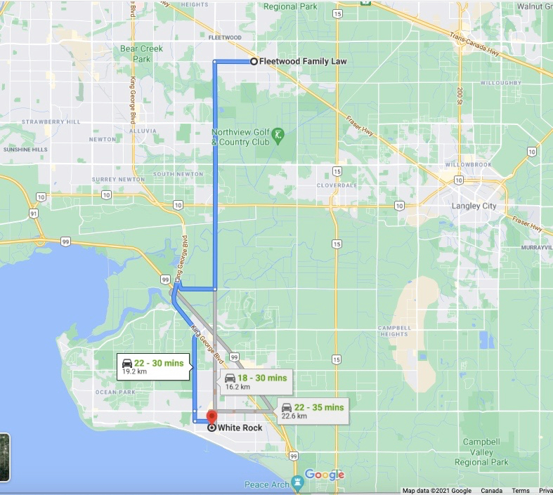 Directions from South Surrey / White Rock to Fleetwood Family Law