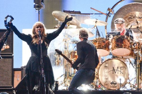 Cleaning up: Stevie, Mick and Lindsey at O2 Arena last week