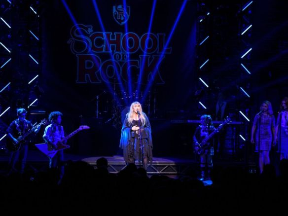 "Matthew Eisman (Getty Images) - Stevie Nicks of the band Fleetwood Mac performs live on stage with the cast of ""School of Rock - The Musical"" at the Winter Garden Theatre on April 26, 2016 in New York City"