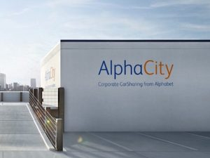Building with AlphaCity logo on