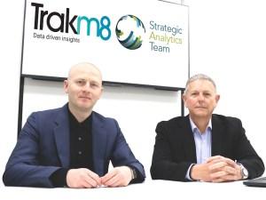 Colin Ferguson, MD of fleet and optimisation at Trakm8 (left) with Paul Jorgensen, senior partner and founder of SAT.