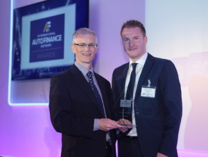Daniel St Claire, carsharing & eMobility manager at Alphabet (right), with the 2017 Intelligent Mobility Services award.