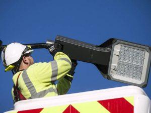 Smart streetlights being installed