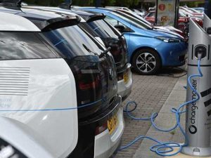Electric vehicles on charge