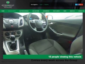 Screen grab of Aston Barclay auction site showing interior image of car using new GardX SpinCar tech