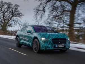 Jaguar I-Pace on the road near Jaguar's HQ at Gaydon