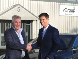 James Nash (right), managing director, vGroup International, welcomes Mike Wise to the company