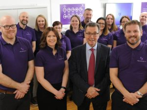 (L-R) Senior management team members: Pete Hitt, Sarah Clifford, Geoffrey Bray and Marcus Bray with Fleet Service GB employees.