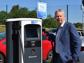 Edmund King OBE, president of the AA and a keen advocate of electric cars, officially opened the charging point at the four-star Sandford Springs Hotel and Golf Resort