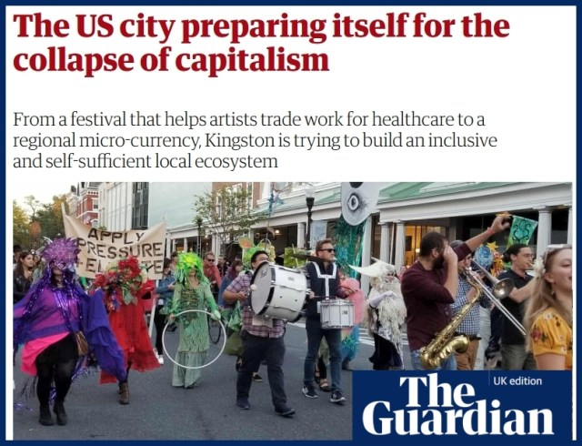 Guardian headline - 'The US city preparing itself for the collapse of capitalism'