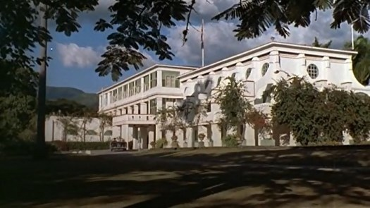 This view of King's House, captured from a film, was taken in 1962, four years after the publication of Fleming's novel.
