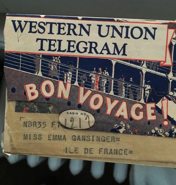 A telegram wishing her well.