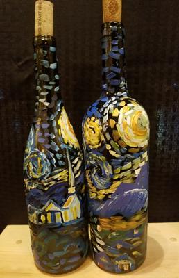 March 3: Starry Night Wine Bottle